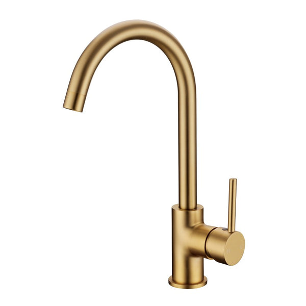Tron Kitchen/Laundry Mixer Tap Brushed Yellow Gold - Luksus Australia - Black Tapware, Gold Tapware, Chrome Tapware, Black Fittings and Fixtures, Black Sinks