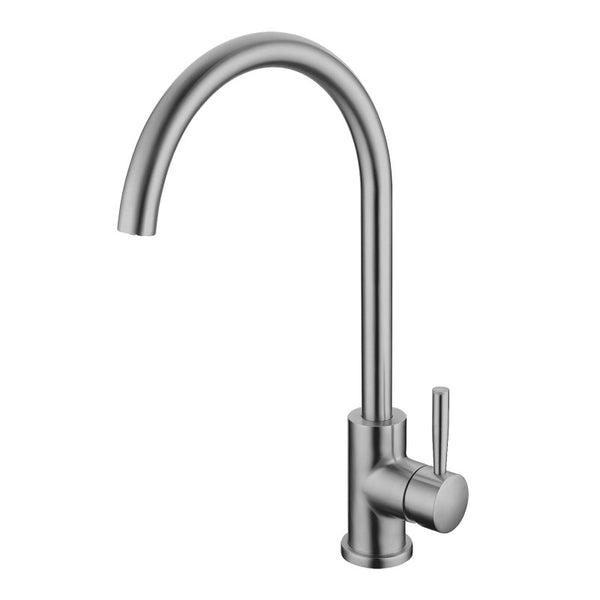 Asker - Brushed Nickel Round Kitchen Sink Mixer Tap 360° Swivel - Luksus Australia - Black Tapware, Gold Tapware, Chrome Tapware, Black Fittings and Fixtures, Black Sinks