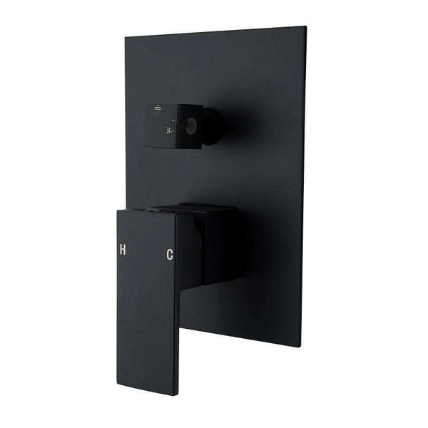 Sola - Matt Black Shower/Bath Mixer And Diverter - Luksus Australia - Black Tapware, Gold Tapware, Chrome Tapware, Black Fittings and Fixtures, Black Sinks