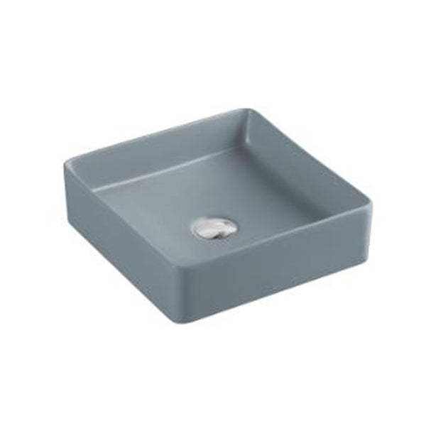 Sola - Square Matt Grey Above Counter Top Ceramic Basin [360x360x110mm] - Luksus Australia - Black Tapware, Gold Tapware, Chrome Tapware, Black Fittings and Fixtures, Black Sinks