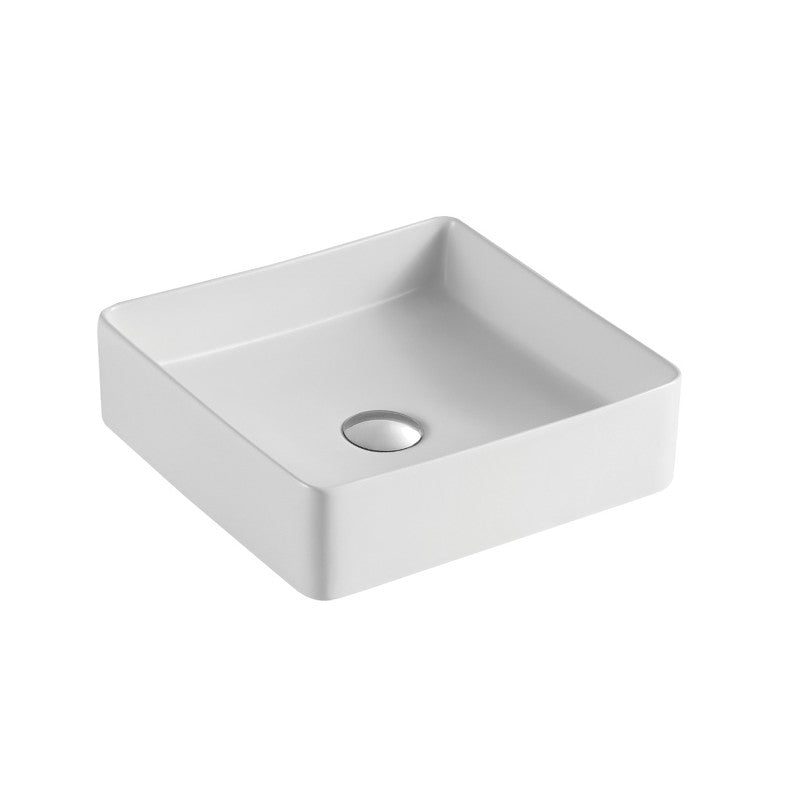 Sola - Square Matt White Above Counter Top Ceramic Basin [360x360x110mm] - Luksus Australia - Black Tapware, Gold Tapware, Chrome Tapware, Black Fittings and Fixtures, Black Sinks