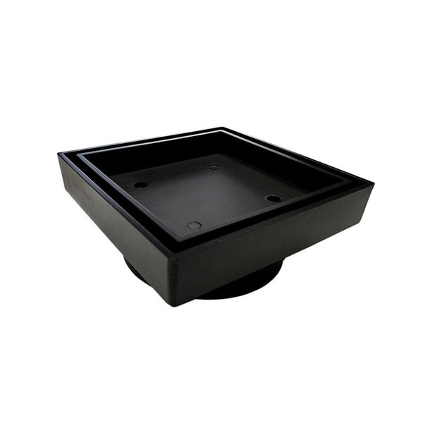 Odda 90 - 115 x 115mm Matt Black Square Black Smart Insert Tile Floor Waste Drain - Luksus Australia - Black Tapware, Gold Tapware, Chrome Tapware, Black Fittings and Fixtures, Black Sinks
