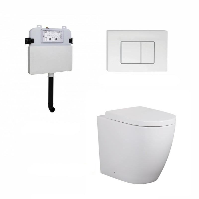 White Frameless In-wall Cistern with Rimless Wall Faced/ Floor Toilet Pan & Push Button Flush [Matt Black, Chrome, White] - Luksus Australia - Black Tapware, Gold Tapware, Chrome Tapware, Black Fittings and Fixtures, Black Sinks
