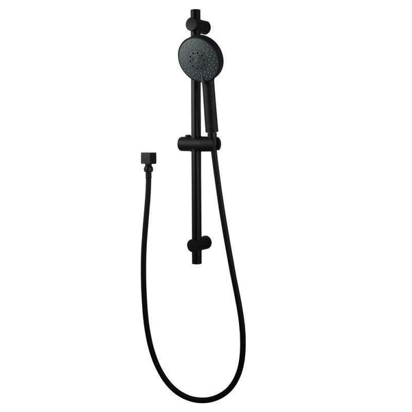 Odda - Matt Black Round 5 Functions Column + Hand Held Shower - Luksus Australia - Black Tapware, Gold Tapware, Chrome Tapware, Black Fittings and Fixtures, Black Sinks
