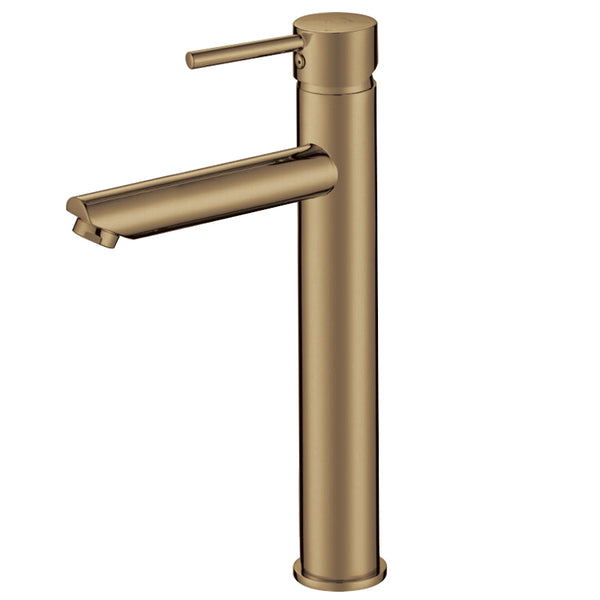 Tron Tall Mixer Tap Brushed Yellow Gold - Luksus Australia - Black Tapware, Gold Tapware, Chrome Tapware, Black Fittings and Fixtures, Black Sinks