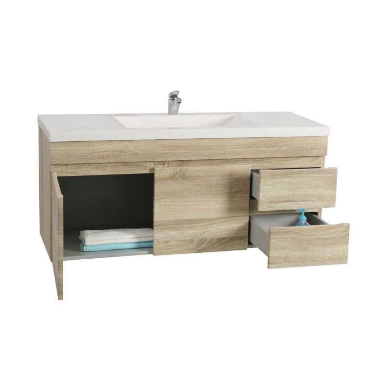 Oslo - White Oak Wall Hung Floating Bathroom Vanity Right Side Drawers PVC Vacuum Filmed Cabinet ONLY - 1200 x 450 x 500mm - Luksus Australia - Black Tapware, Gold Tapware, Chrome Tapware, Black Fittings and Fixtures, Black Sinks