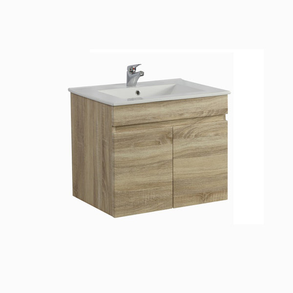 Oslo - White Oak Wall Hung Floating Bathroom PVC Filmed Wood Grain Cabinet ONLY - 600 x 450 x 500mm - Luksus Australia - Black Tapware, Gold Tapware, Chrome Tapware, Black Fittings and Fixtures, Black Sinks