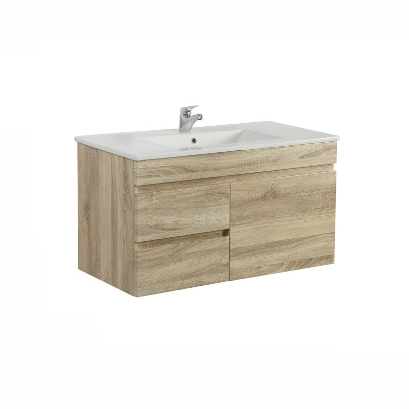 Oslo - White Oak Wall Hung Floating Bathroom Left Side Drawers Wood PVC Filmed Cabinet ONLY - 900 x 450 x 500mm - Luksus Australia - Black Tapware, Gold Tapware, Chrome Tapware, Black Fittings and Fixtures, Black Sinks
