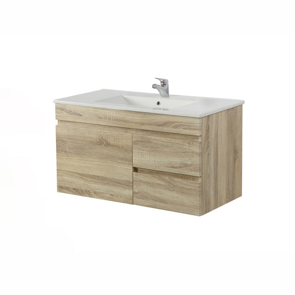Oslo - White Oak Wall Hung Floating Bathroom Right Side Drawers Wood PVC Filmed Cabinet ONLY - 900 x 450 x 500mm - Luksus Australia - Black Tapware, Gold Tapware, Chrome Tapware, Black Fittings and Fixtures, Black Sinks