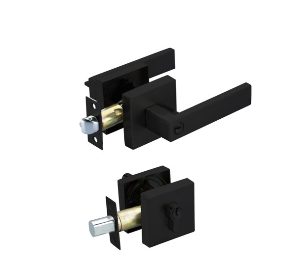 Entrance Lock Set with a Deadbolt  – Matt Black Finish - Luksus Australia - Black Tapware, Gold Tapware, Chrome Tapware, Black Fittings and Fixtures, Black Sinks