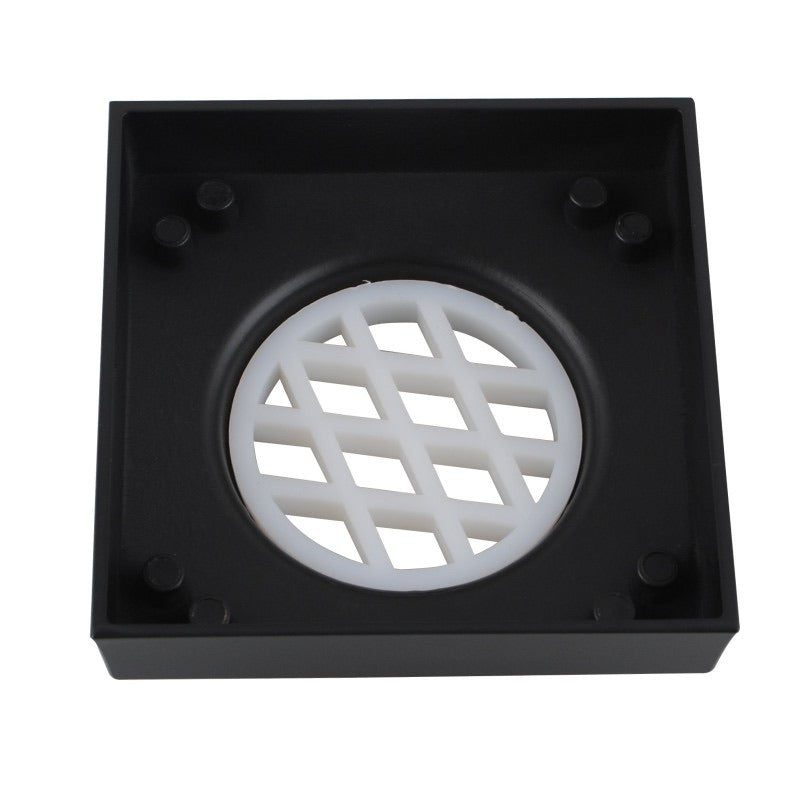Odda 73.5 - 115x115mm Matt Black Smart Tile Insert Floor Waste Shower Grate Drain - Luksus Australia - Black Tapware, Gold Tapware, Chrome Tapware, Black Fittings and Fixtures, Black Sinks