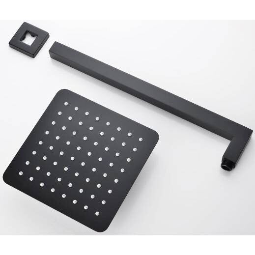 Odda - Matt Black Brass Rainfall Shower Head [200mm] - Luksus Australia - Black Tapware, Gold Tapware, Chrome Tapware, Black Fittings and Fixtures, Black Sinks