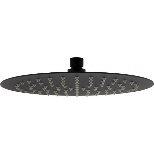 Asker - Round Matt Black Rainfall shower head - Luksus Australia - Black Tapware, Gold Tapware, Chrome Tapware, Black Fittings and Fixtures, Black Sinks
