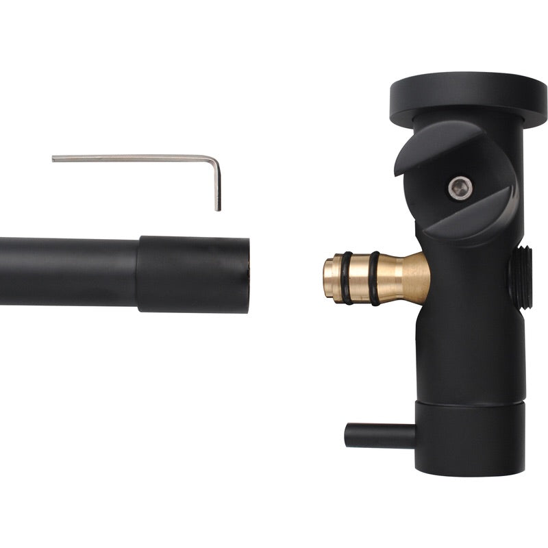 Asker- Round Matt Black Shower Station + Hot and cold turn taps - Luksus Australia - Black Tapware, Gold Tapware, Chrome Tapware, Black Fittings and Fixtures, Black Sinks