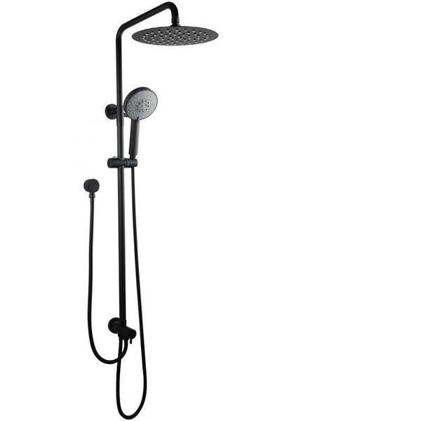Asker- Round Matt Black Twin Shower Station Top/Bottom Water Inlet with 5 Functions Handheld Shower [200mm Head]