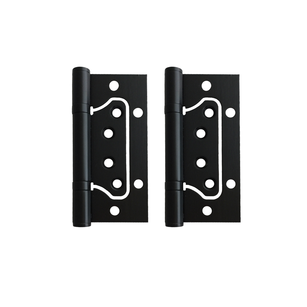 Matt Black Stainless Non-Mortice Door Hinges (Pair) – 100 x 75 x 2mm - Luksus Australia - Black Tapware, Gold Tapware, Chrome Tapware, Black Fittings and Fixtures, Black Sinks
