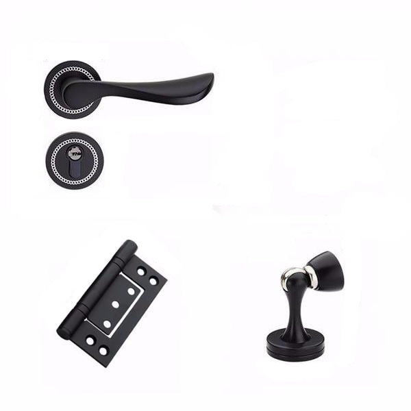 Black Interior Room Door Lock Set (Option for Hinges and Door Stop) - Luksus Australia - Black Tapware, Gold Tapware, Chrome Tapware, Black Fittings and Fixtures, Black Sinks