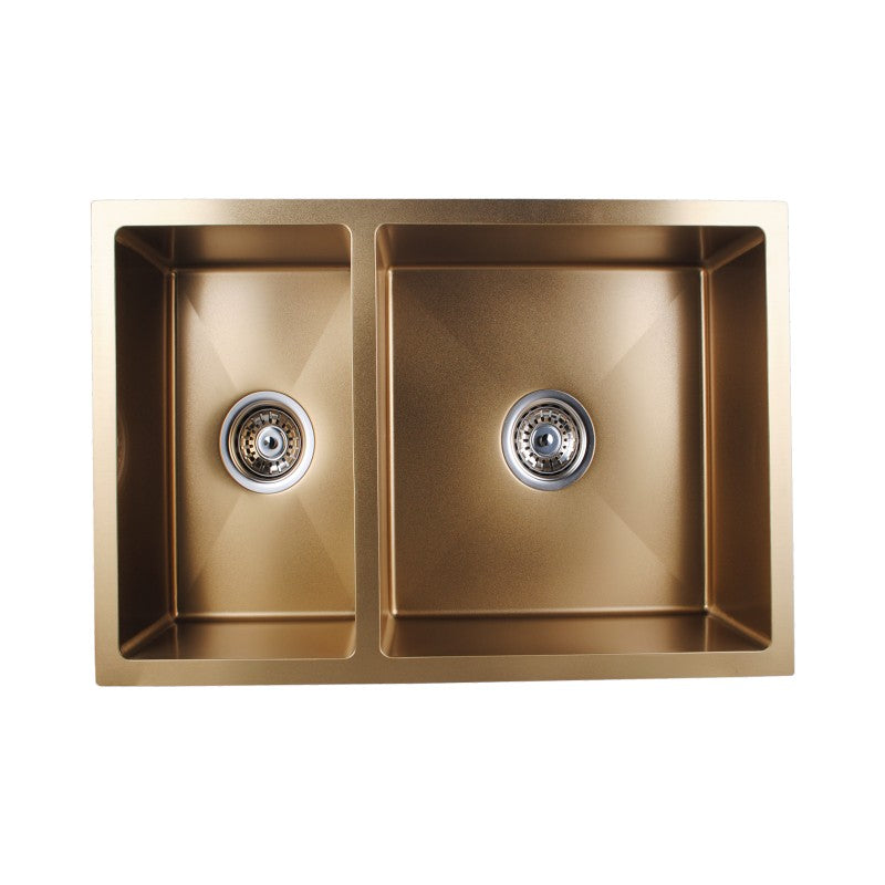 Tron - Brushed Yellow Gold Handmade Round Corners Double Bowls Top/Under/Flush Mount Kitchen Sink 710x450x205mm 1.2mm - Luksus Australia - Black Tapware, Gold Tapware, Chrome Tapware, Black Fittings and Fixtures, Black Sinks