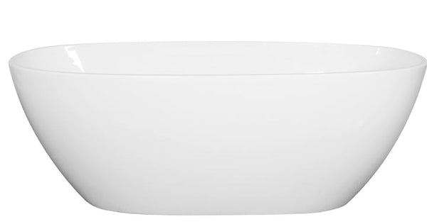 Asker - MATT White Oval Bathtub Freestanding Acrylic Bath tub NO Overflow [1500x810x590mm]