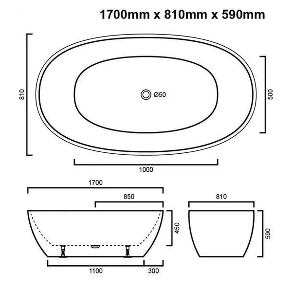 Asker - Acrylic Gloss White Oval Bathtub Freestanding Bath tub NO Overflow [1700x810x590mm]