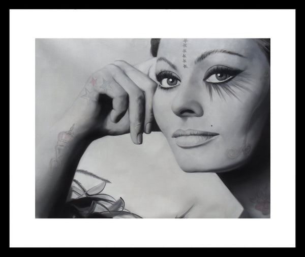 M Tattoo Art - Sophia Loren, 2017 Painting 80 x 100 cm