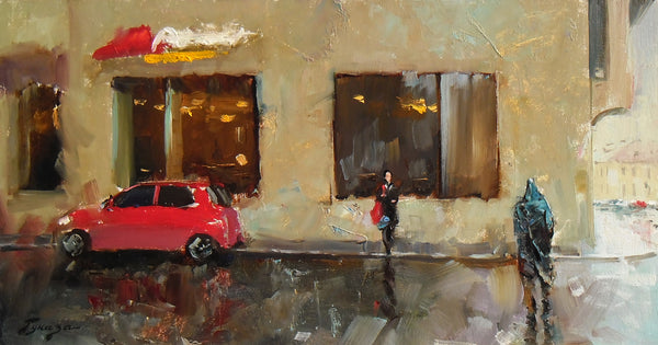 Vitaly Gunaza - Sometimes small rains, 2016 Painting 21 x 40 cm