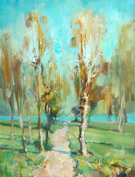 Vitaly Gunaza - The path to the water, 2016 Painting 40 x 30 cm