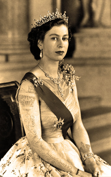 "M  Tattoo Art - ""HMQEII"" HM Queen Elisabeth II, Vintage 2017 Photography 80 x 50 cm"