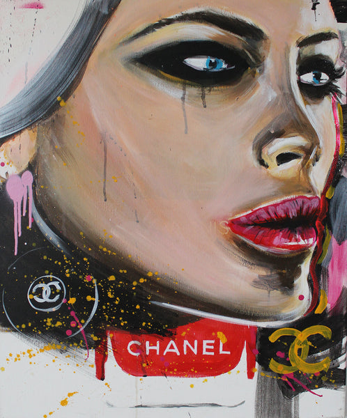 Suzette Huwae - I Wear Chanel, 2016 Painting 60 x 40 x 2 cm - Gilardi Art Gallery