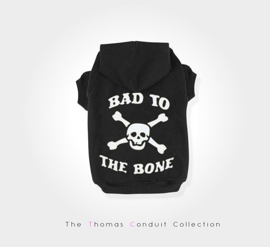 Urban style black bad-to-the-bone hoodie for dogs