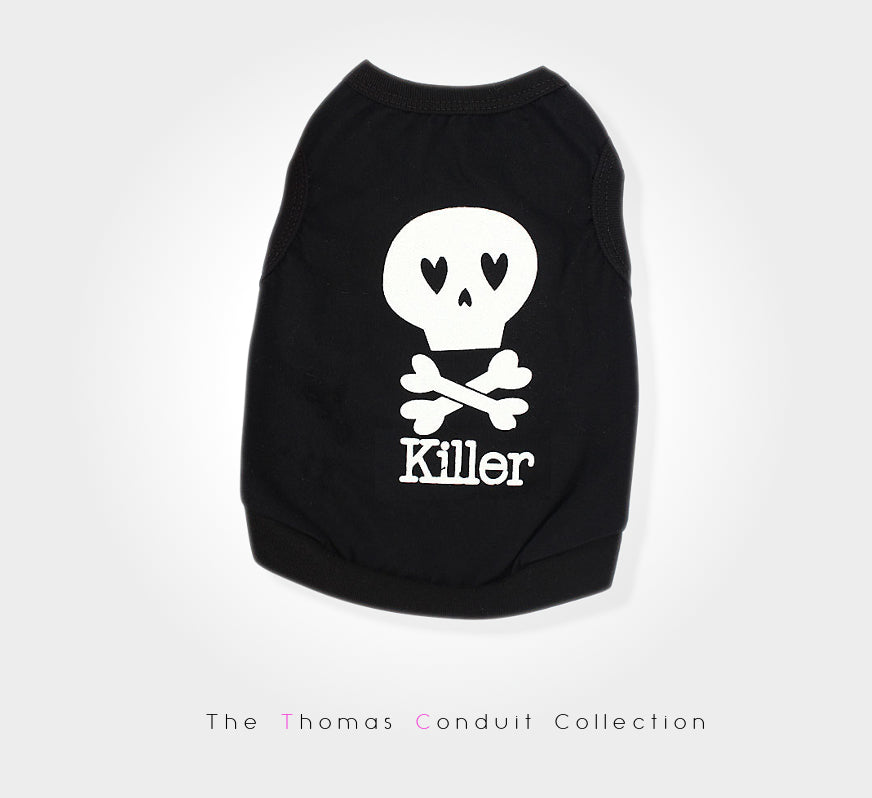Black singlet with skull and text for small to medium size dogs