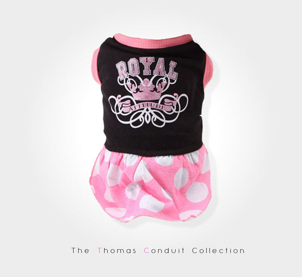 Black and pink summer dress with royal print for dogs
