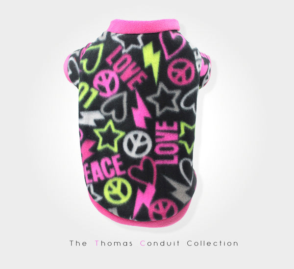 Fleece sweater with black and pink neon colors for dogs