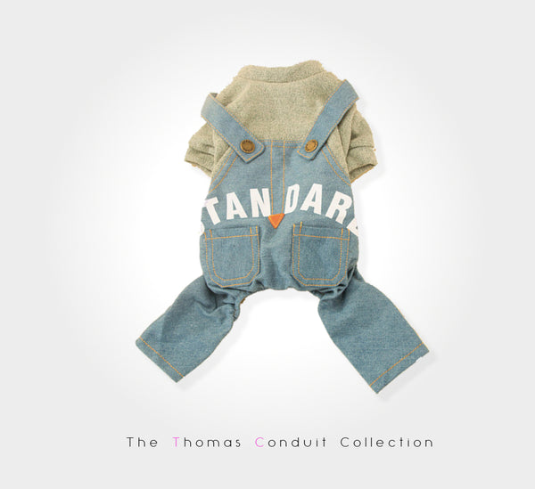 Overall with grey sweater suitable for summer for small to medium size dogs