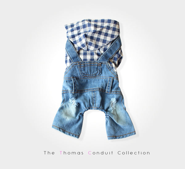 Denim overall with plaid hoodie for dogs