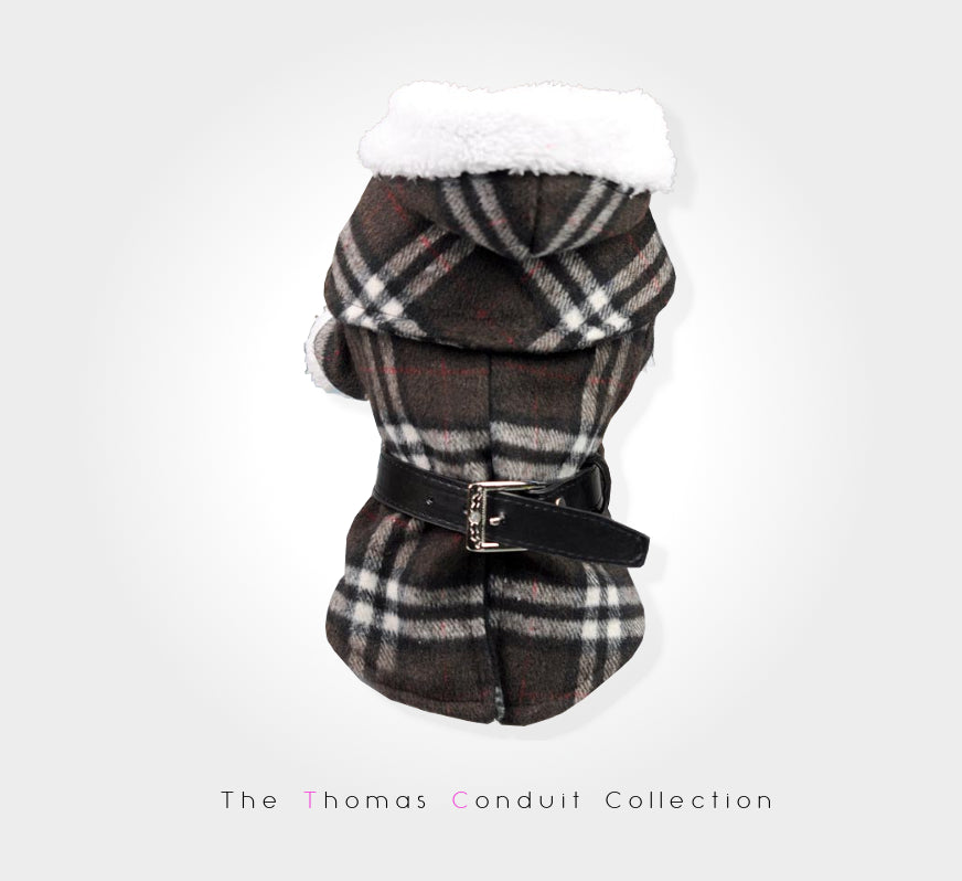 Classic plaid winter coat for dogs