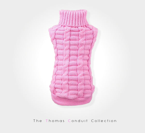 pink knitted sweater for dogs