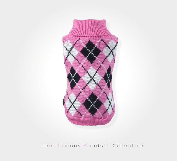 Pink argyle (diamond) sweater with very short sleeves for small to medium size dogs