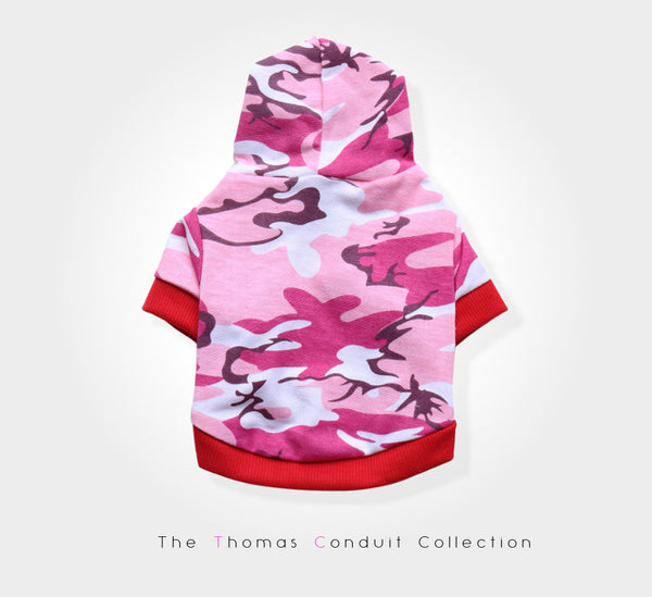Urban style pink camouflage hoodie for small dogs