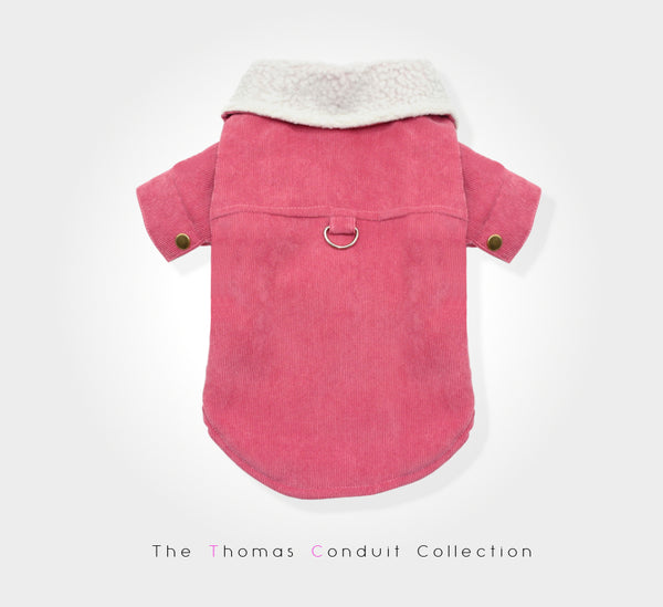 Pink corduroy jacket for dogs
