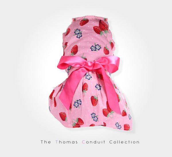 pink summer dress with strawberry print for small to medium size dogs