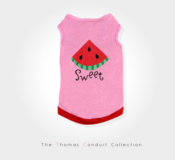 Pink t-shirt with watermelon print for small to medium size dogs