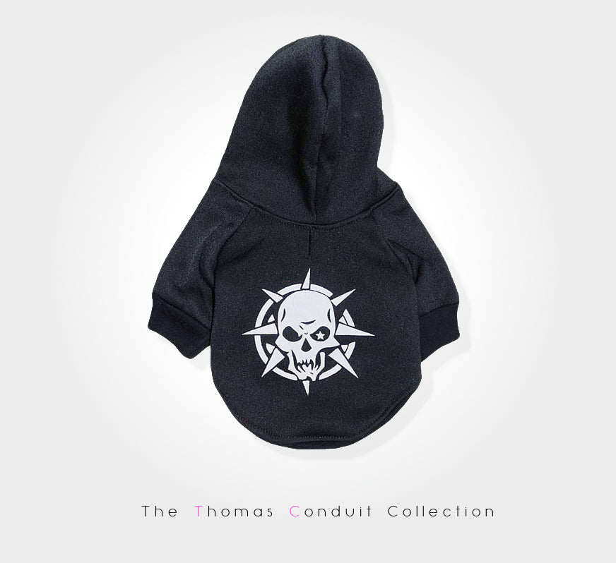 Black punk hoodie for dogs