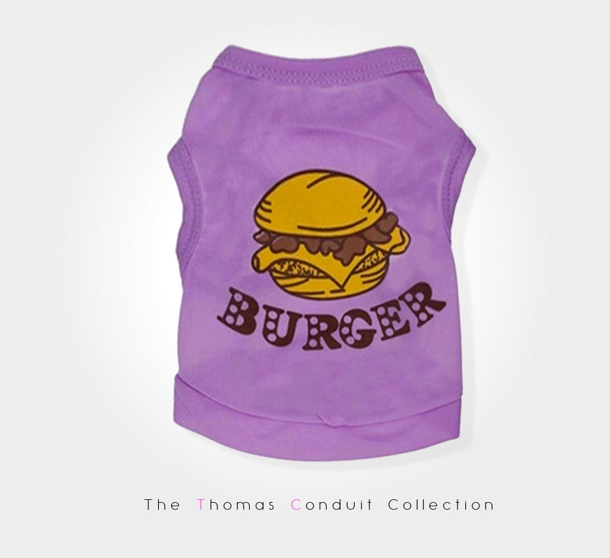 Purple singlet with burger print for small dogs