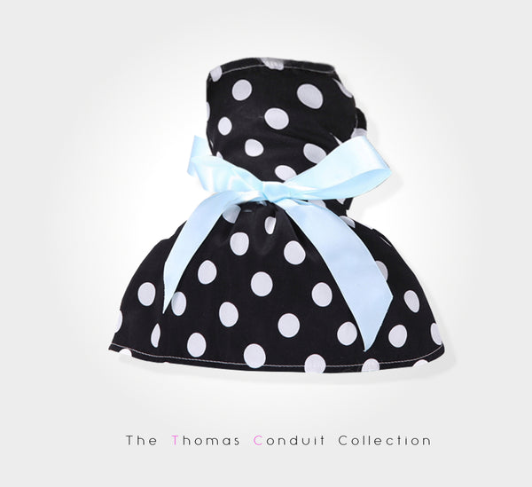 Black summer dress with polka dots and blue bow for dogs