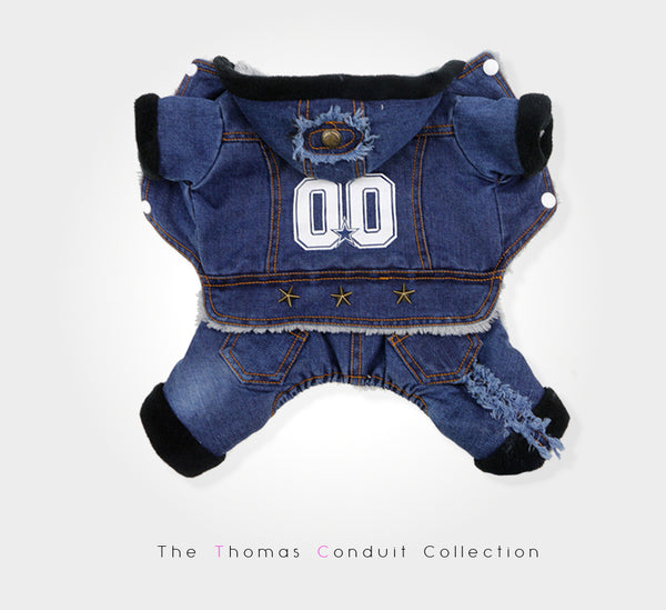 Dark blue denim jumpsuit with fleece lining for small to medium size dogs
