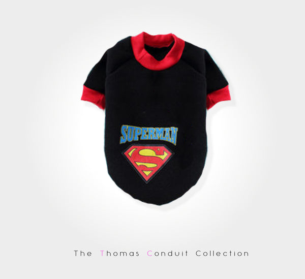 Urban style sweater with superman print for small to medium size dogs.
