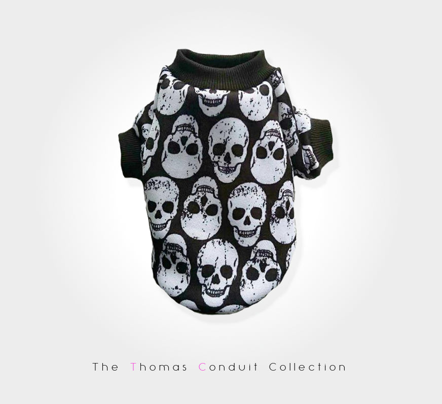 Fashionable punk style sweater with skull pattern for small to large dogs.
