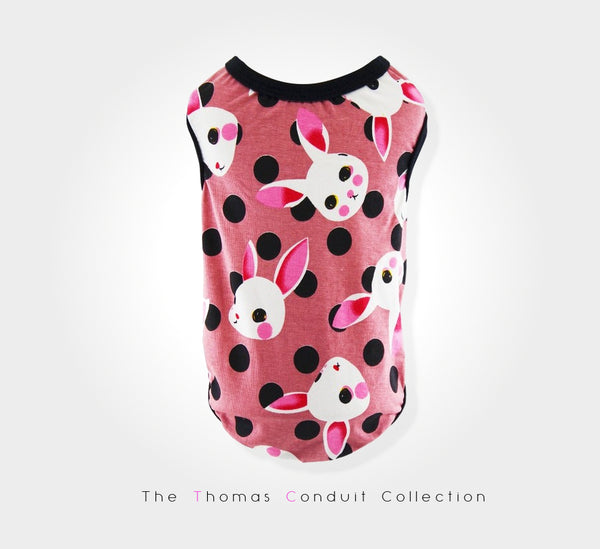 Pink shirt with rabbit print and black polka dots for dogs