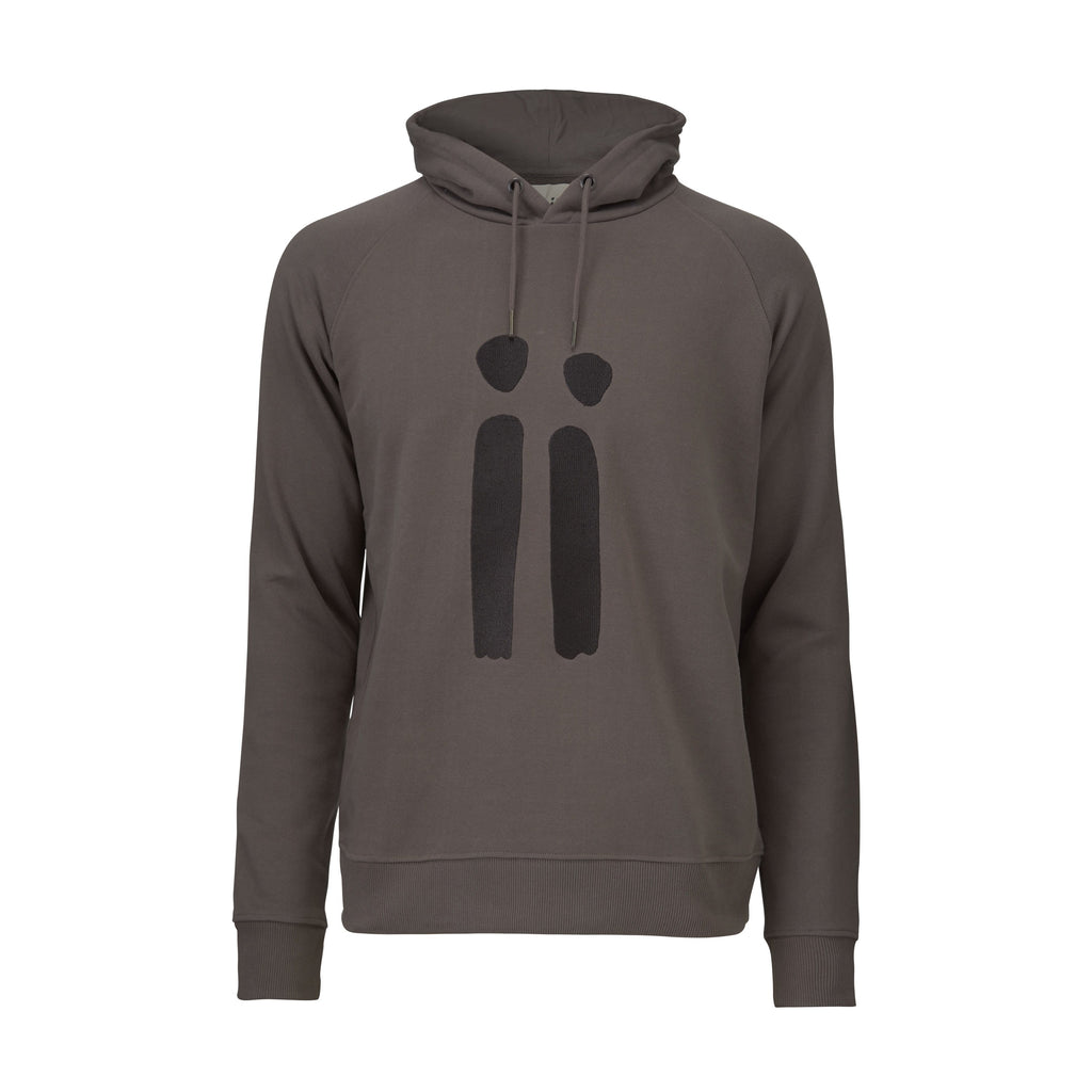 Zoomed in brown, unisex sweatshirt with ARTiiG logo on. Wearable art hoodie for him and her.